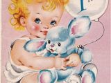Happy Birthday Card 1 Year Old Vintage 1950s Happy Birthday 1 Year Old Greetings Card B9