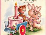 Happy Birthday Card 1 Year Old Vintage 1951happy Birthday One Year Old Greetings Card B66