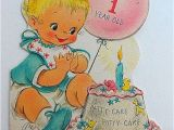 Happy Birthday Card 1 Year Old Vintage Happy Birthday Card Baby Glitter 1 One Year Old Patty