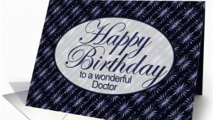 Happy Birthday Card for Doctor Happy Birthday Doctor Dark Blue and Lilac Art Nouveau