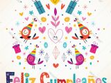 Happy Birthday Card In Spanish to Print Feliz Cumpleanos Happy Birthday In Spanish Card Vector Image