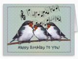 Happy Birthday Card with Photo and Music Happy Birthday Three Birds Singing Music Staff Greeting