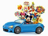 Happy Birthday Cards with Cars Disney Pop Up Blue Car with Flashing Lights Blinks to