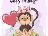 Happy Birthday Cards with Monkeys Biglietto Di Auguri Per Il Compleanno Con La Scimmia