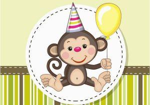 Happy Birthday Cards With Monkeys Cartoon Monkey Card Vector Printables