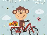 Happy Birthday Cards with Monkeys Happy Birthday Funny Monkey On Bike Stock Vector 562117264