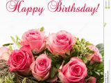 Happy Birthday Cards with Roses Bouquet Of Fresh Pink Roses isolated On White Stock Photo