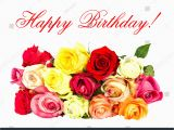 Happy Birthday Cards with Roses Colorful Roses Happy Birthday Card Concept Stock Photo