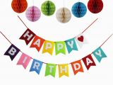 Happy Birthday Decoration Items Happy Birthday Decorations Banner with Set Of 6 Tissue Pom
