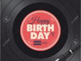 Happy Birthday Dj Card Happy Birthday Card Vinyl Illustration Background Vector