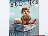 Happy Birthday Fishing Cards Birthday Card for Your Brother Fishing Bear Only 1 49