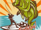 Happy Birthday Fishing Cards Fly Fisherman On Boat Catching Largemouth Bass Lakes