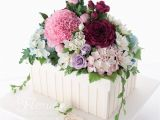 Happy Birthday Flowers In Box 90th Birthday Flower Box Cake Flower Fondant