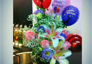 Happy Birthday Flowers With Balloons Wishes Flower Arrangement To Singapore