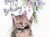 Happy Birthday From the Cat Card Cat and Bouquet Sparkle Cat Birthday Card Cat themed