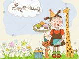 Happy Birthday Girl Pic Happy Birthday Card with Funny Girl Animals and Cupcakes