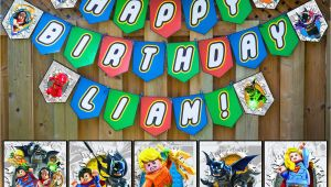 Happy Birthday Lego Banner Printable Lego Justice League Inspired Birthday Banner Instbirthday