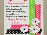 Happy Birthday Online Cards with Name Beautiful Birthday Wishes for Sister with Name Photo