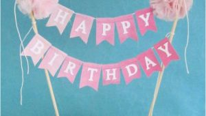 Happy Birthday Pennant Banner Cake topper Birthday Cake Banner Pink Ombre Quot Happy Birthday Quot Cake