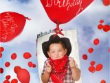 Happy Birthday Photo Card Maker Birthday Card with Flying Balloons Printable Photo Template
