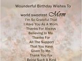 Happy Birthday Quote for Mom Dear Mother Wonderful Birthday Wishes to World Sweetest