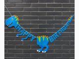 Happy Birthday T Rex Banner Blue T Rex Shaped Happy Birthday Banner Dinosaur Party