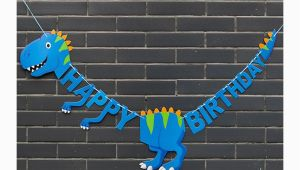Happy Birthday T Rex Banner Blue T Rex Shaped Happy Birthday Banner Dinosaur Party