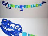 Happy Birthday T Rex Banner Boy 39 S Birthday Party Blue Glitter Sparkly Dinosaur Happy
