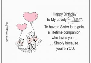 Happy Birthday to My Lovely Sister Quotes Happy Birthday to My Lovely Sister Heart Flower Card