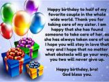 Happy Birthday to My Other Half Quotes Birthday Wishes for Brother In Law so Funny Best Messages