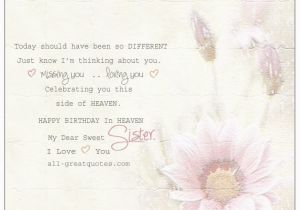 Happy Birthday to My Sister In Heaven Quotes Missing My