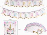 Happy Birthday Unicorn Banner Free 2018 Cute Glittering Unicorn Happy Birthday Banner Baby