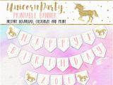 Happy Birthday Unicorn Banner Free Unicorn Party Banner Editable Printable Unicorn Birthday