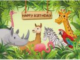 Happy Birthday Zoo Banner 7x5ft Safari Jungles Happy Birthday Zoo Flamingo Giraffe
