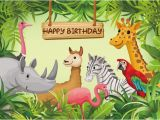 Happy Birthday Zoo Banner Happy Birthday Photography Backdrop Jungle Safari themed