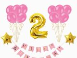 Happy Second Birthday Banner Baby Second Birthday Blue Pink Happy Birthday Banner 2nd