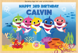 Happy Third Birthday Banner Baby Shark theme Printable Backdrop Banner Custom Photo