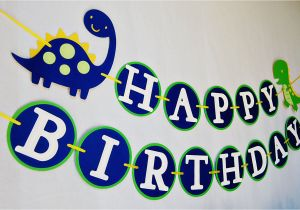 Happy Third Birthday Banner Dinoroar Happy Birthday Banner for Boys 28 00 Via Etsy