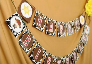 Happy Third Birthday Banner Printable Happy Birthday Banner Diy Western Cowboy by