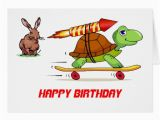 Hare Birthday Cards Rocket Propelled tortoise and Hare Birthday Card Zazzle