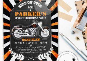 Harley Davidson Birthday Party Invitations Invitation Chalkboard