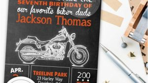 Harley Davidson Birthday Party Invitations Harley Davidson Birthday Party Invitation Chalkboard