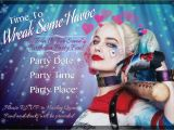 Harley Quinn Birthday Invitation Template Harley Quinn Party Invitation Digital File Customized Party