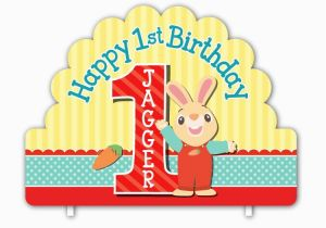 Harry the Bunny Birthday Invitations Harry the Bunny Personalized Happy 1st Birthday Cake