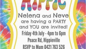 Hippie Birthday Invitations Hippie Party Invite Invitation Custom Made Digital