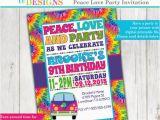 Hippie Invitations Birthday Party Tie Dye 60 39 S Hippie Party Invitation Peace Love