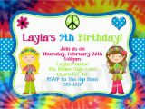 Hippie Invitations Birthday Party Tie Dye Birthday Invitation 70 39 S Birthday Invitation