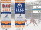 Hockey Ticket Birthday Invitations Edmonton Oilers Birthday Invitation Hockey Ticket