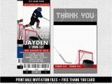 Hockey Ticket Birthday Invitations Hockey Ticket Invitations Skate Birthday Party Bonus Thank