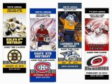 Hockey Ticket Birthday Invitations Nhl Hockey Custom Designed Birthday Party Ticket
